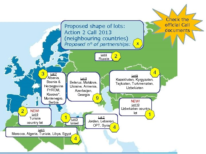 Proposed shape of lots: Action 2 Call 2013 (neighbouring countries) Proposed n° of partnerships: