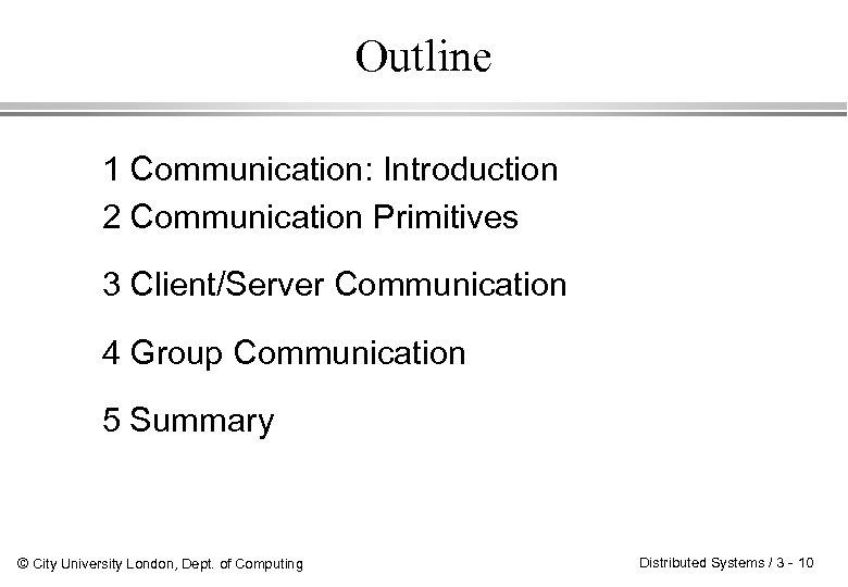 Outline 1 Communication: Introduction 2 Communication Primitives 3 Client/Server Communication 4 Group Communication 5