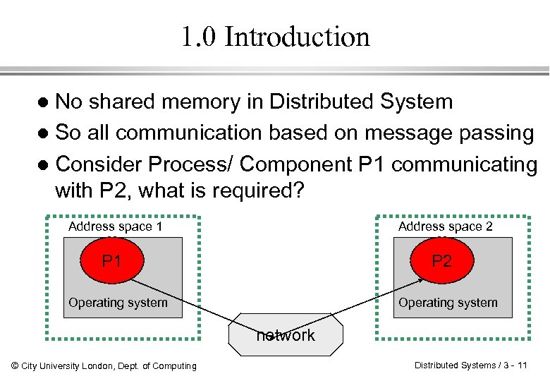 1. 0 Introduction No shared memory in Distributed System l So all communication based