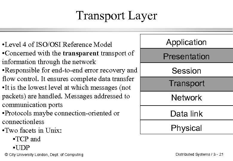 Transport Layer • Level 4 of ISO/OSI Reference Model • Concerned with the transparent