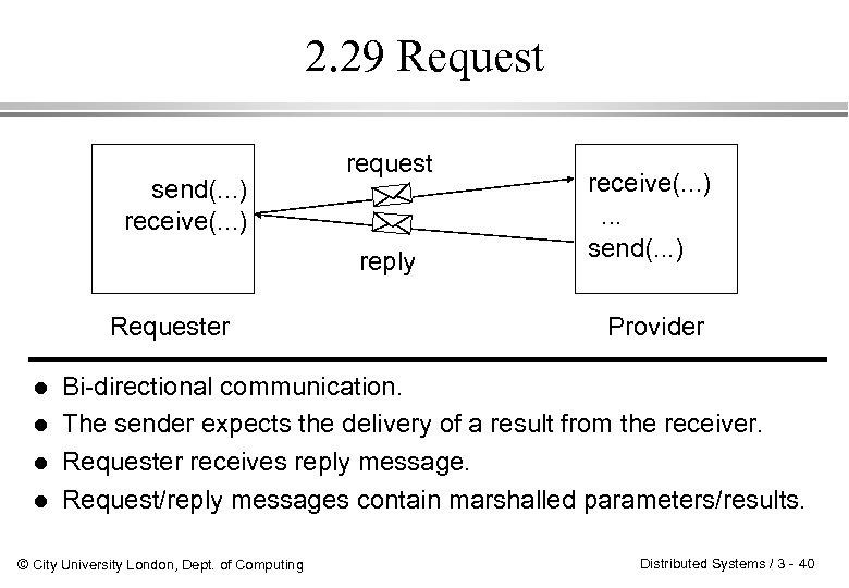 2. 29 Request send(. . . ) receive(. . . ) request reply Requester