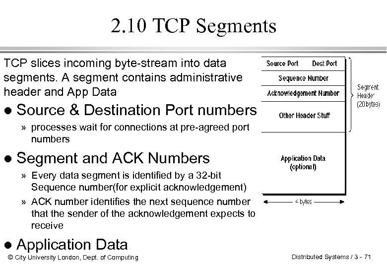 2. 10 TCP Segments TCP slices incoming byte-stream into data segments. A segment contains