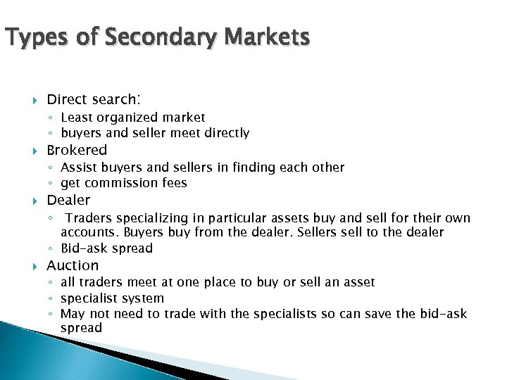 Types of Secondary Markets Direct search: ◦ Least organized market ◦ buyers and seller