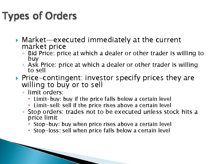 Types of Orders Market—executed immediately at the current market price ◦ Bid Price: price