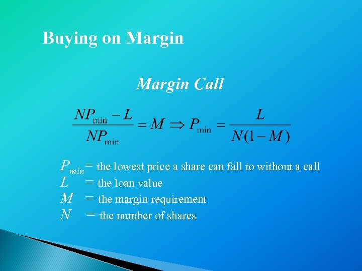 Buying on Margin Call Pmin= the lowest price a share can fall to without