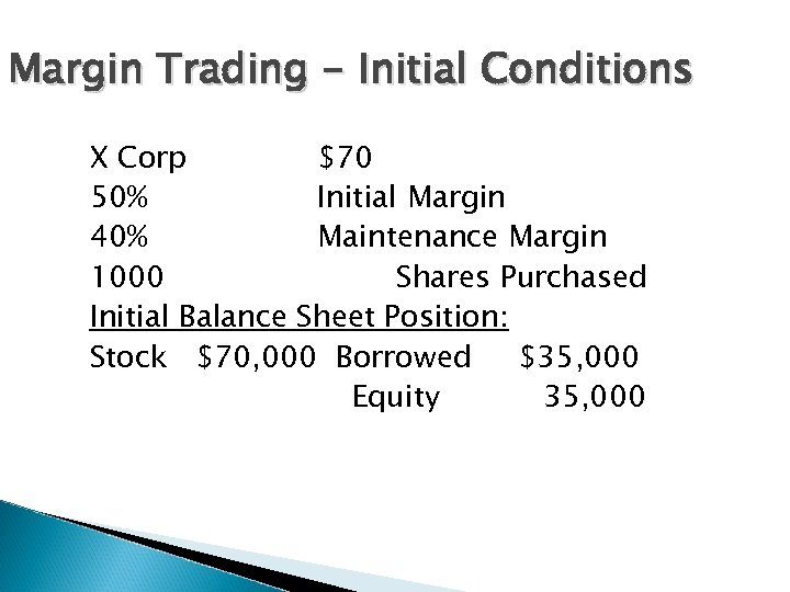 Margin Trading - Initial Conditions X Corp $70 50% Initial Margin 40% Maintenance Margin