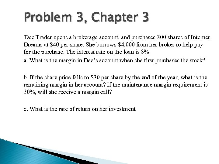 Problem 3, Chapter 3 Dee Trader opens a brokerage account, and purchases 300 shares
