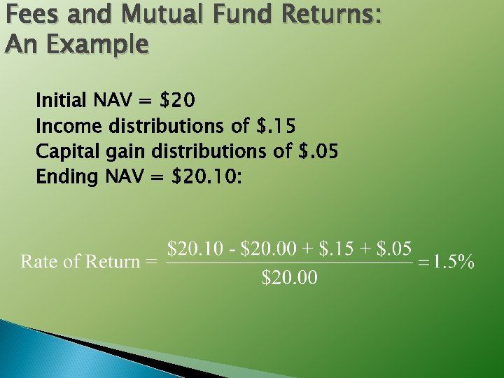 Fees and Mutual Fund Returns: An Example Initial NAV = $20 Income distributions of