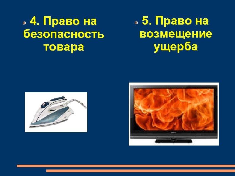 4. Право на безопасность товара 5. Право на возмещение ущерба