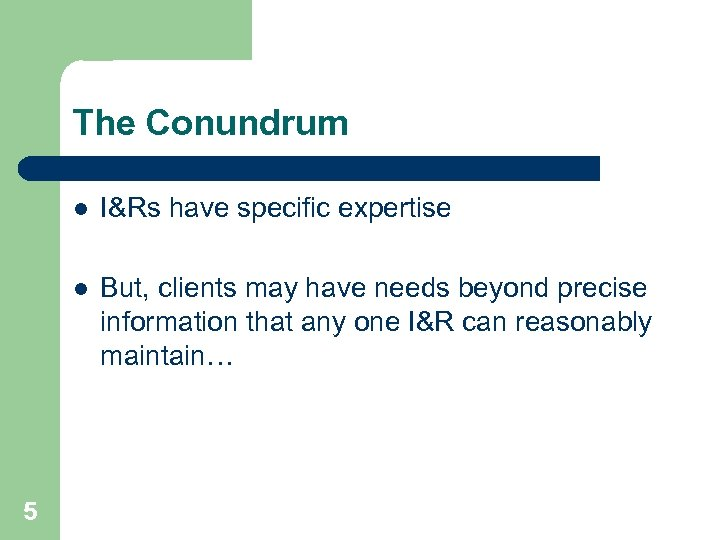 The Conundrum l l 5 I&Rs have specific expertise But, clients may have needs