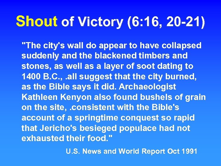 Shout of Victory (6: 16, 20 -21)