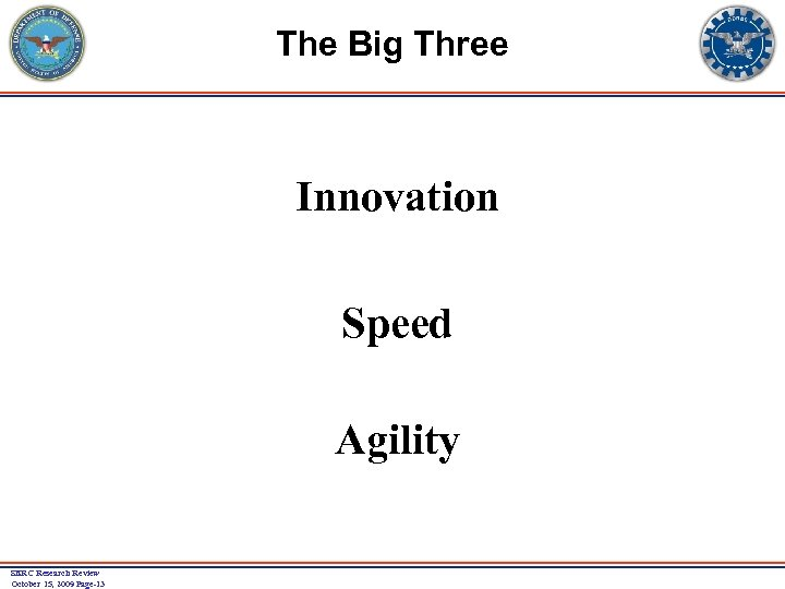 The Big Three Innovation Speed Agility SERC Research Review October 15, 2009 Page-13