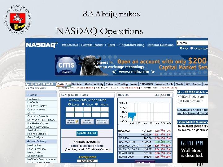 8. 3 Akcijų rinkos NASDAQ Operations 60