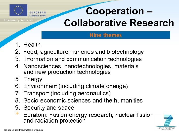 Cooperation – Collaborative Research Nine themes 1. 2. 3. 4. 5. 6. 7. 8.