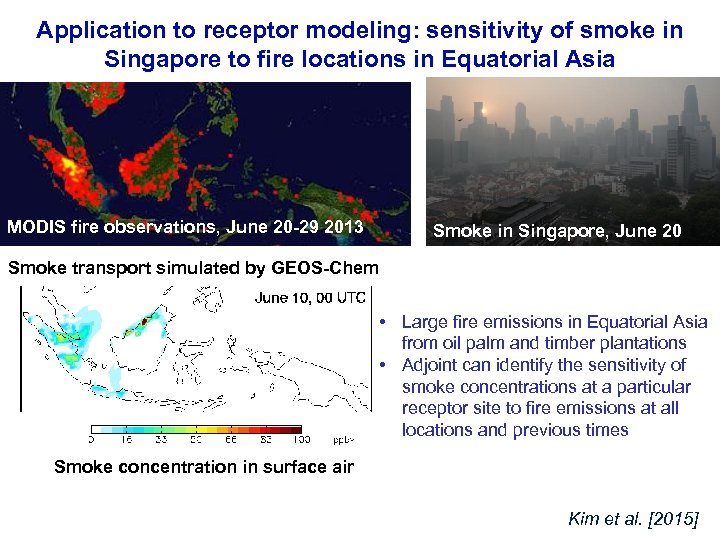 Application to receptor modeling: sensitivity of smoke in Singapore to fire locations in Equatorial