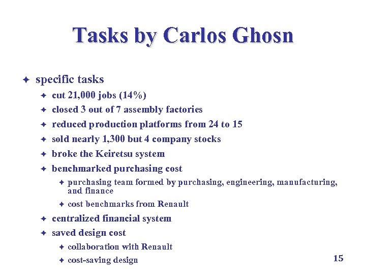Tasks by Carlos Ghosn è specific tasks è è è cut 21, 000 jobs