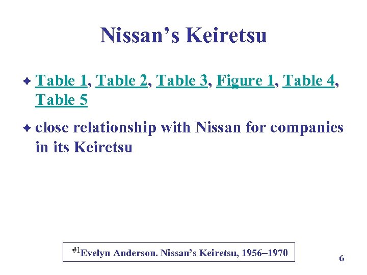 Nissan's Keiretsu è Table 1, Table 2, Table 3, Figure 1, Table 4, Table