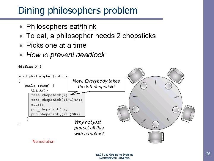 Dining philosophers problem Philosophers eat/think To eat, a philosopher needs 2 chopsticks Picks one