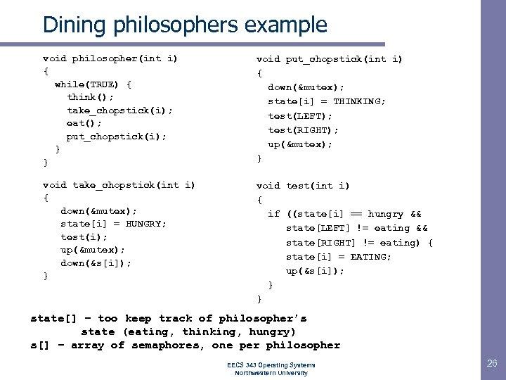 Dining philosophers example void philosopher(int i) { while(TRUE) { think(); take_chopstick(i); eat(); put_chopstick(i); }