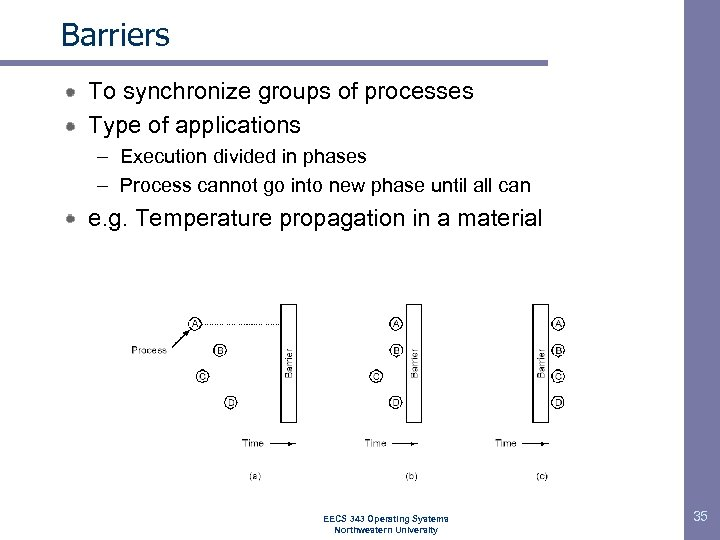 Barriers To synchronize groups of processes Type of applications – Execution divided in phases
