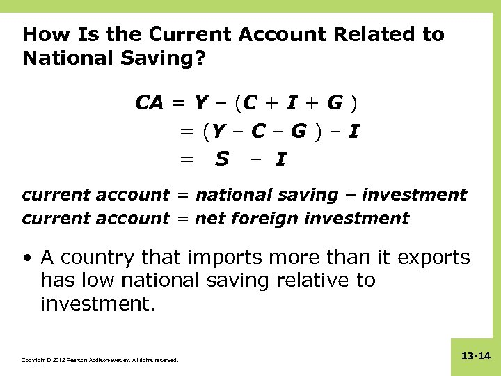 How Is the Current Account Related to National Saving? CA = Y – (C