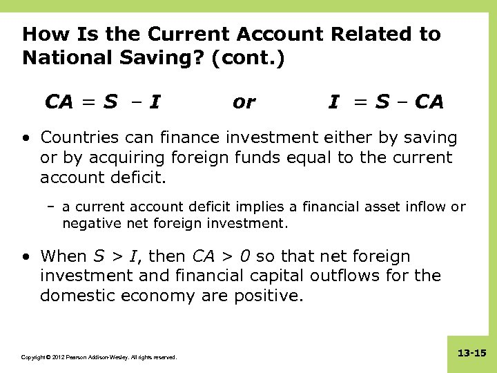 How Is the Current Account Related to National Saving? (cont. ) CA = S