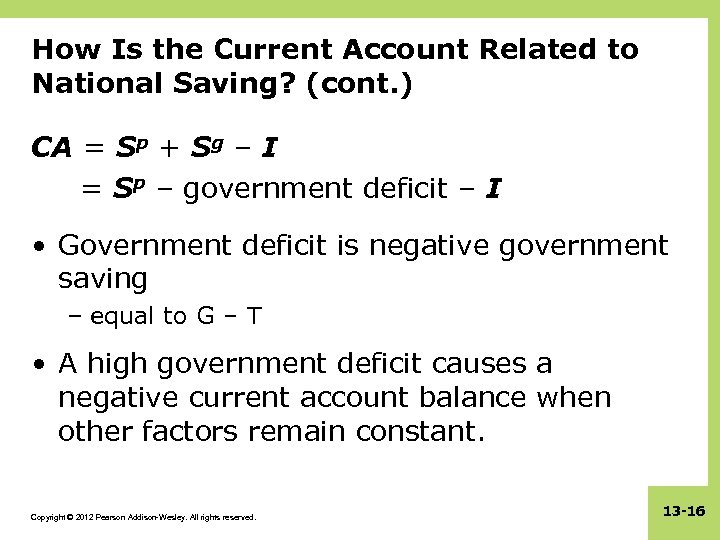 How Is the Current Account Related to National Saving? (cont. ) CA = Sp