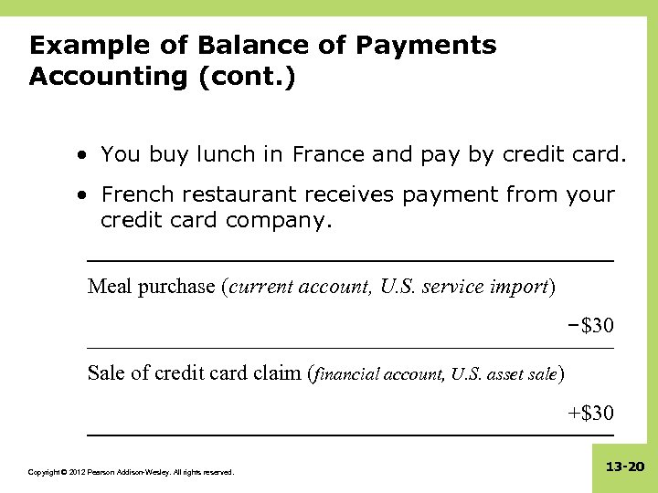 Example of Balance of Payments Accounting (cont. ) • You buy lunch in France
