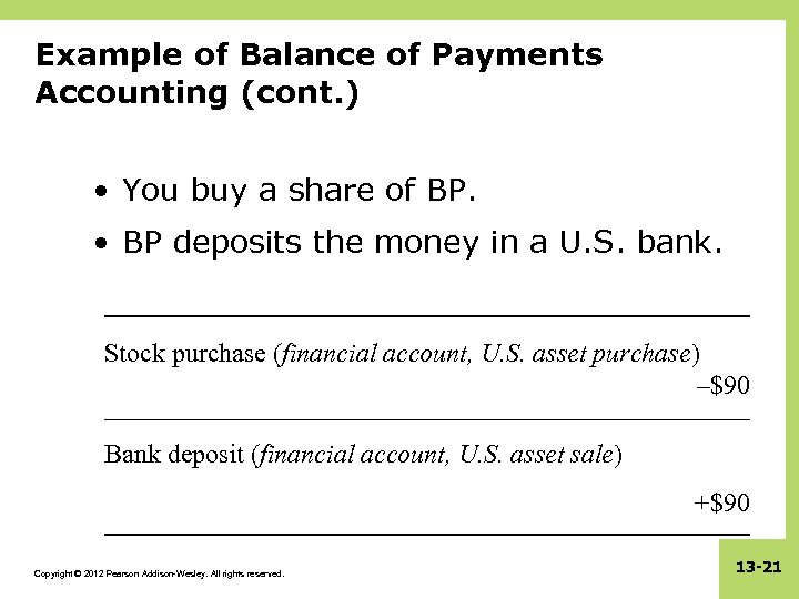 Example of Balance of Payments Accounting (cont. ) • You buy a share of
