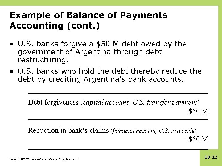 Example of Balance of Payments Accounting (cont. ) • U. S. banks forgive a