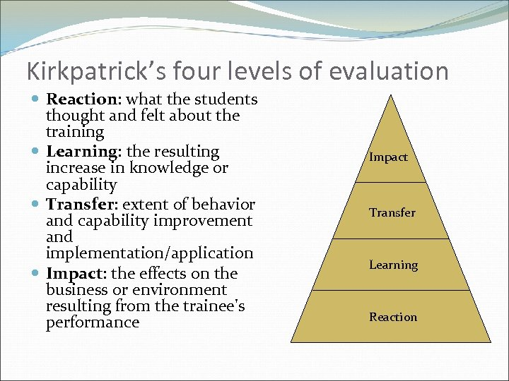 Kirkpatrick's four levels of evaluation Reaction: what the students thought and felt about the