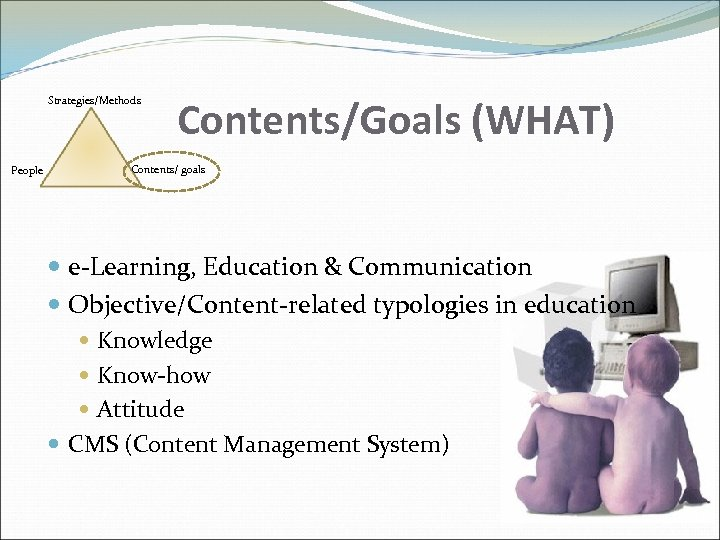 Strategies/Methods People Contents/Goals (WHAT) Contents/ goals e-Learning, Education & Communication Objective/Content-related typologies in education