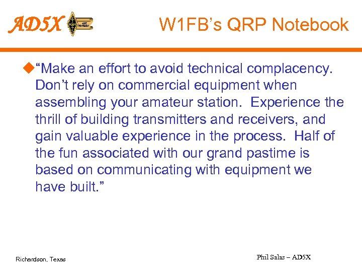 "AD 5 X W 1 FB's QRP Notebook u""Make an effort to avoid technical"