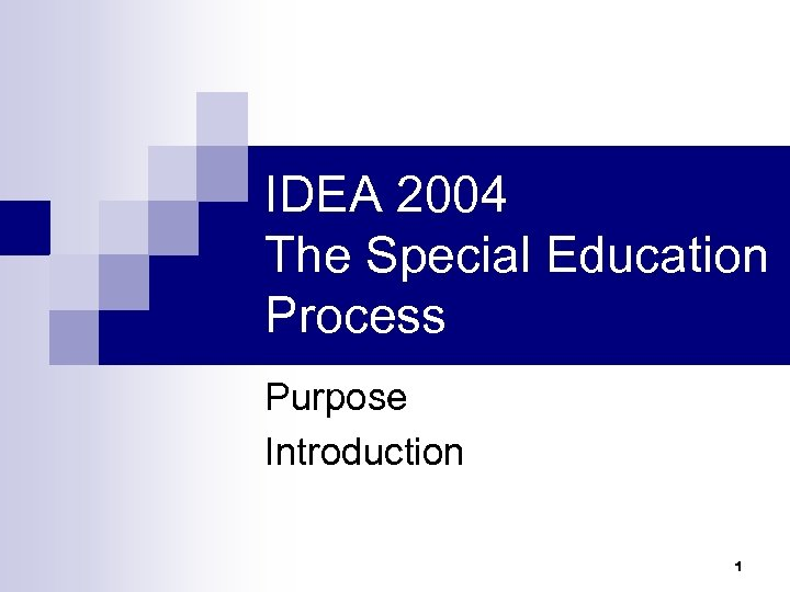 IDEA 2004 The Special Education Process Purpose Introduction 1