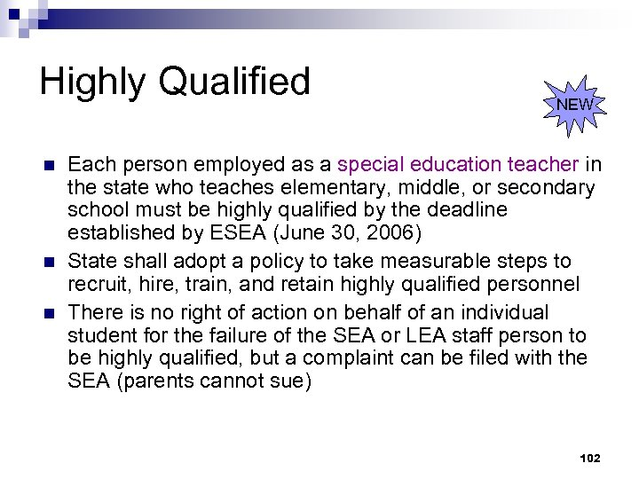 Highly Qualified n n n NEW Each person employed as a special education teacher