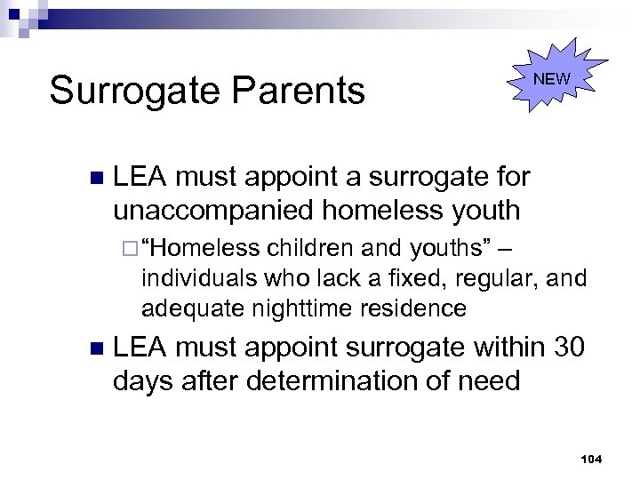 Surrogate Parents n NEW LEA must appoint a surrogate for unaccompanied homeless youth ¨