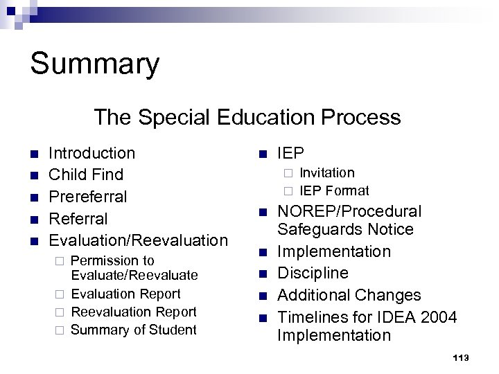 Summary The Special Education Process n n n Introduction Child Find Prereferral Referral Evaluation/Reevaluation