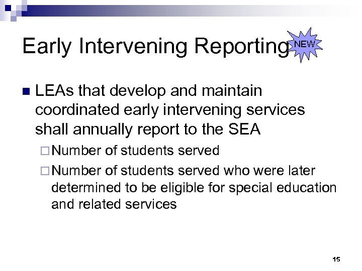 Early Intervening Reporting NEW n LEAs that develop and maintain coordinated early intervening services