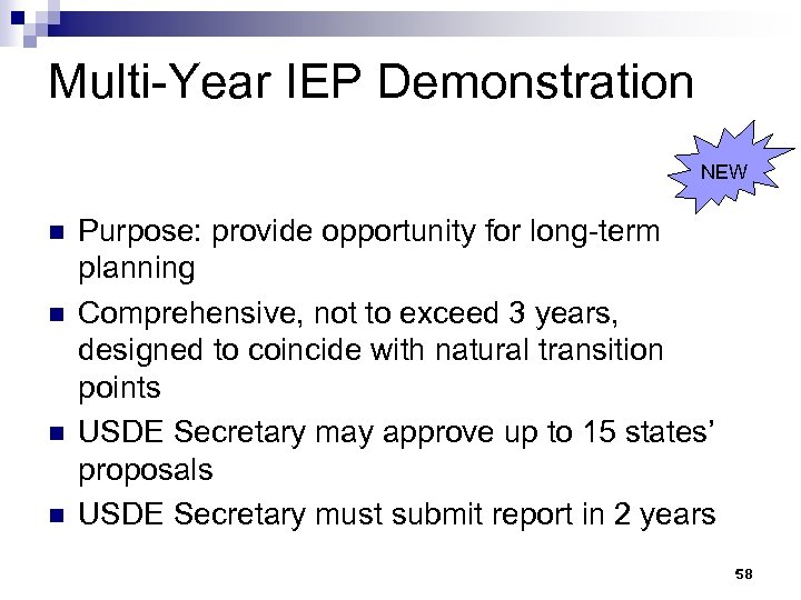 Multi-Year IEP Demonstration NEW n n Purpose: provide opportunity for long-term planning Comprehensive, not