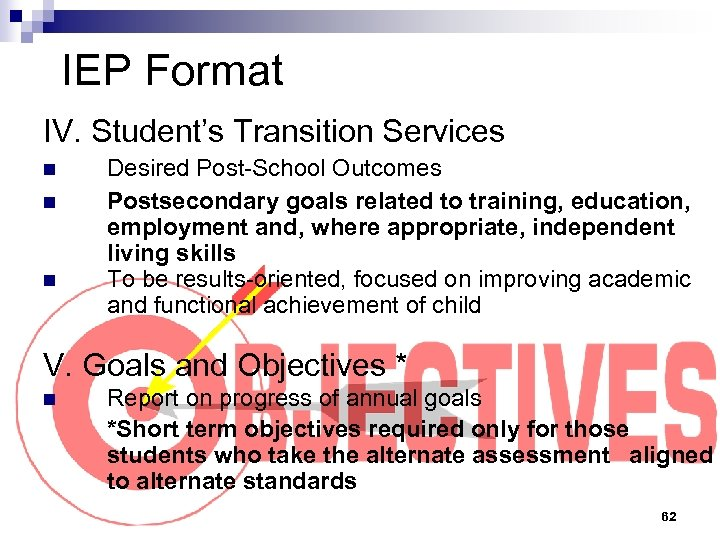 IEP Format IV. Student's Transition Services n n n Desired Post-School Outcomes Postsecondary goals