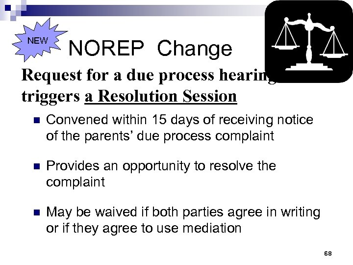 NEW NOREP Change Request for a due process hearing triggers a Resolution Session n