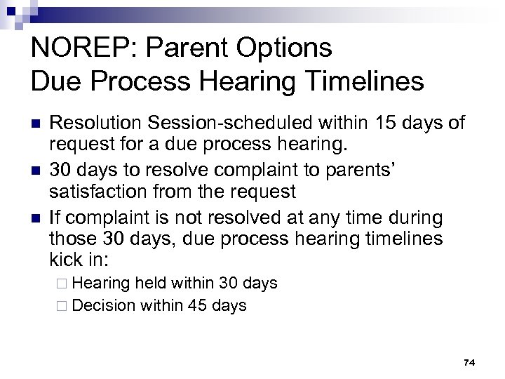 NOREP: Parent Options Due Process Hearing Timelines n n n Resolution Session-scheduled within 15