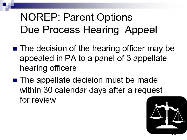 NOREP: Parent Options Due Process Hearing Appeal The decision of the hearing officer may