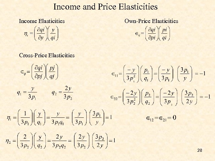 Income and Price Elasticities Income Elasticities Own-Price Elasticities Cross-Price Elasticities 28