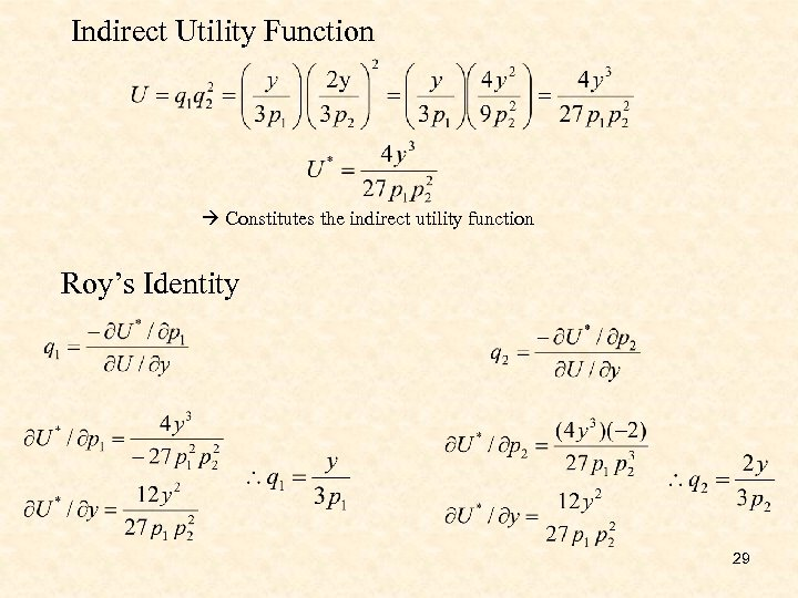 Indirect Utility Function Constitutes the indirect utility function Roy's Identity 29
