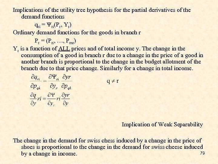 Implications of the utility tree hypothesis for the partial derivatives of the demand functions