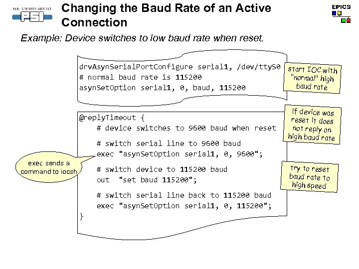 Changing the Baud Rate of an Active Connection Example: Device switches to low baud