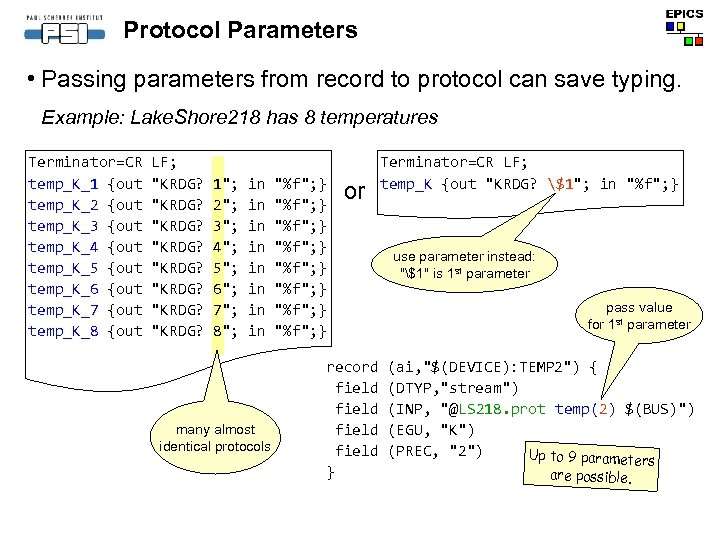 Protocol Parameters • Passing parameters from record to protocol can save typing. Example: Lake.