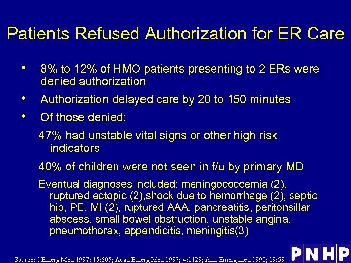 Patients Refused Authorization for ER Care • 8% to 12% of HMO patients presenting