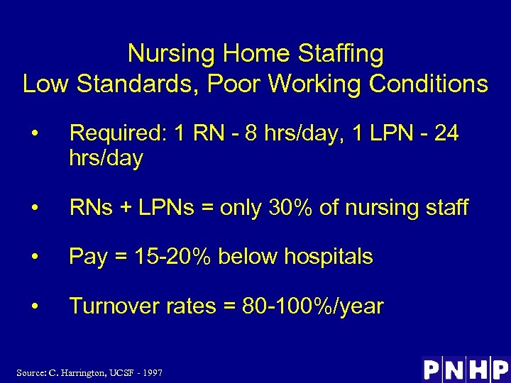 Nursing Home Staffing Low Standards, Poor Working Conditions • Required: 1 RN - 8